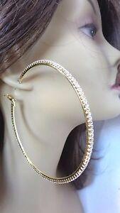 Image Is Loading Large 4 5 Inch Hoop Earrings Crystal Rhinestone