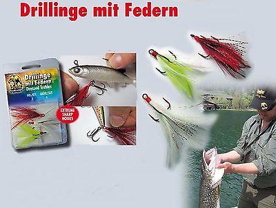 Ultrascharfe Drillinge mit Feder für Spinner /& Wobbler Angelhaken Raubfischhaken