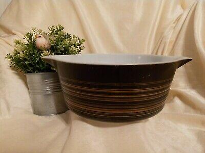 Dark Brown w Brown Lines Graffito Pottery Feel Dish Pyrex TERRA Casserole 2.5 Quart 475 Vintage Pyrex Cinderella Round Casserole Bowl