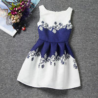 Girls Floral Print Belted Dress Kids Summer Skater Party Dresses Age 3-7 Years