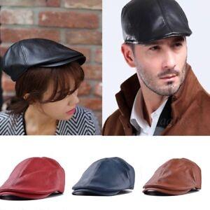 eeb5fc04a4e New Men Women Leather Vintage Ivy Cap Newsboy Beret Cabbie Gatsby ...