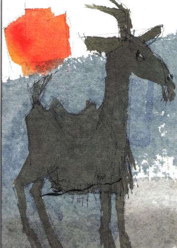 Ziege Doppelkarte Jens Wolf Kunst