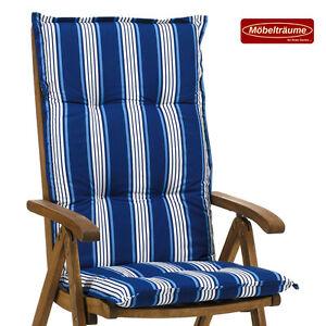 6 gartenm bel auflagen f r hochlehner sessel stuhl sitzkissen kissen blau wei ebay. Black Bedroom Furniture Sets. Home Design Ideas