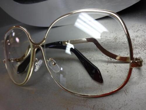 OVERSIZED VINTAGE RETRO Style Clear Lens SUN GLASSES Rare Upside Down Gold Frame