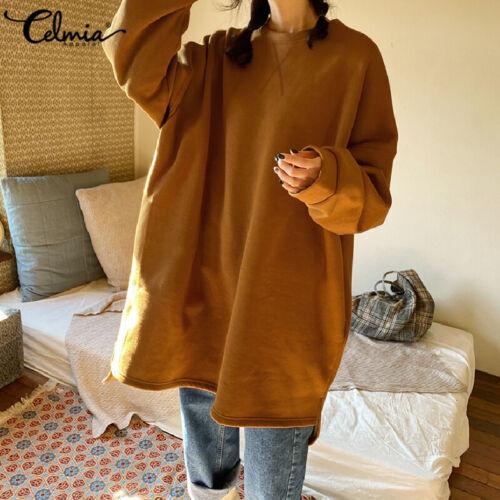 Women Winter Long Sleeve Kaftan High Low Midi Sweater Top Plus Size Jumper Dress