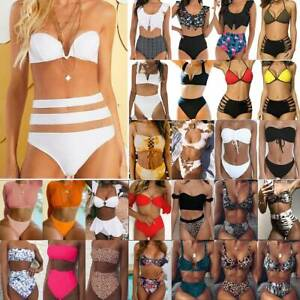 Damen High Waist Push Up Bikini Set Bademode Badeanzug Badebekleidung Swimwear