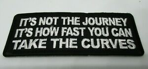 Biker-Leather-Vest-Patch-ITS-NOT-THE-JOURNEY-iron-on-or-sew-on-Harley-Rider
