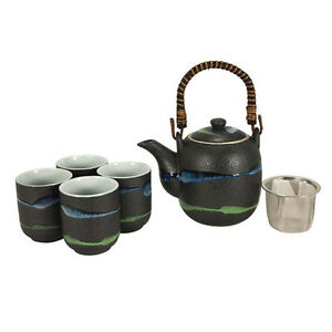 5 pcs japanese tea pot cups set w strainer green blue Green tea pot set