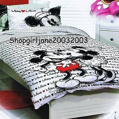 Mickey Loves Minnie Mouse ❤ Disney ❤ Double/Full Bed Quilt Doona Duvet Cover Set