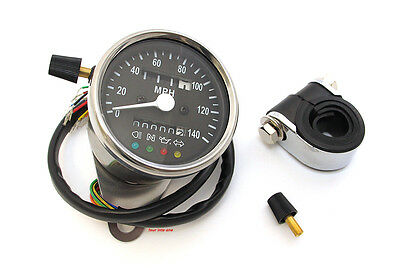 Mini Speedometer with Indicator Lights • Black Face • 2240:60 • Honda 2210-0210