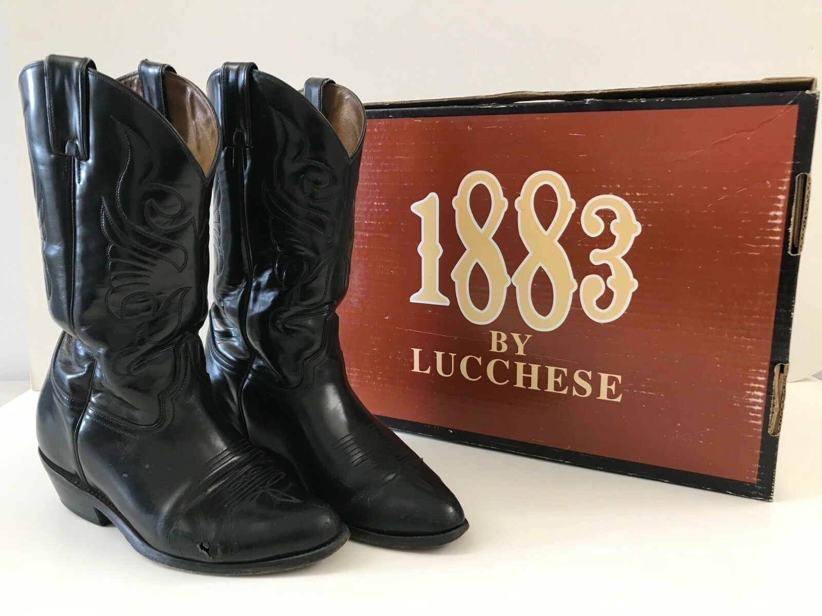 1883 by Lucchese Black Leather Low Heel Western Boots Women's Size 8.5, 100.00
