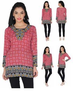UK STOCK Women Casual Indian Short Kurti Tunic Kurta Top Shirt Dress 57D