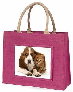 Basset-Hound-Chien-et-chat-grande-rose-sac-courses-cadeau-noel-ID-ad-bh1blp