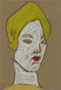 Ben Carrivick - Contemporary Pastel, Blonde Figure with Red Lips