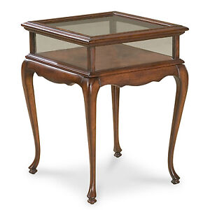 Exceptionnel Image Is Loading CHELMSFORD CURIO TABLE GLASS TOP DISPLAY TABLE CHERRY