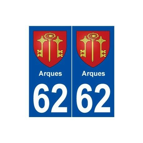 62 Arques blason autocollant plaque stickers ville -  Angles : droits