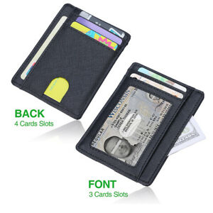 69cf240bf8 Anti-Scan/Theft Case Slim RFID Blocking Wallet Clip ID Credit Card ...