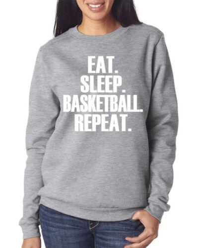Spieler Geschenk Jugend und Damen-Sweatshirt Eat Sleep Basketball Repeat Pulli