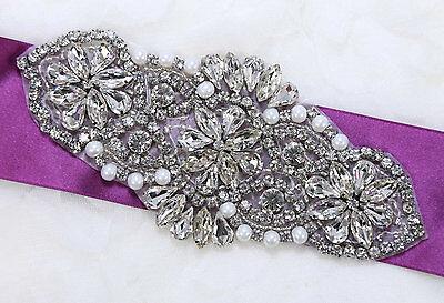 Bridal Sash Motif Silver Beaded Crystal Rhinestone Applique with Pearl