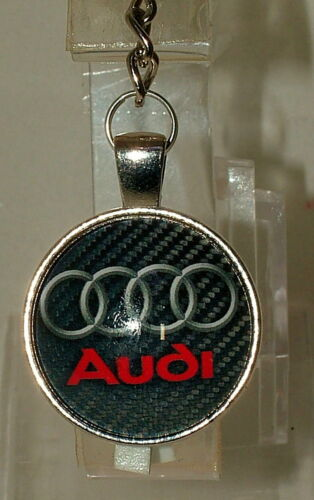 Audi keyring silver plated holder and glass cabochon 02.