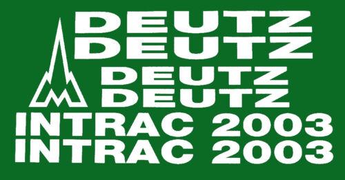 Deutz Traktor Intrac 2003 Aufklebesatz weiss.