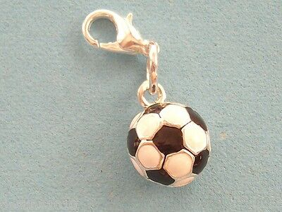 Soccer Ball Full Round charm with 12mm Lobster Claw Clasp NEW