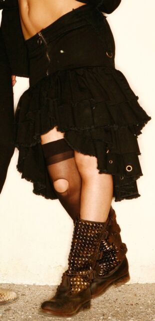 FDW Womens Lip Service Ruffle Skirt Black Lace Steampunk Gothic Punk Dress XS