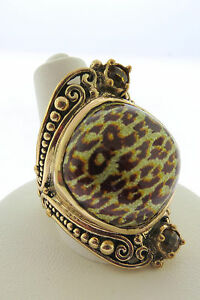 Sajen-Bronze-by-Marianna-and-Richard-Jacobs-Cheetah-Print-Multi-gem-stone-Ring