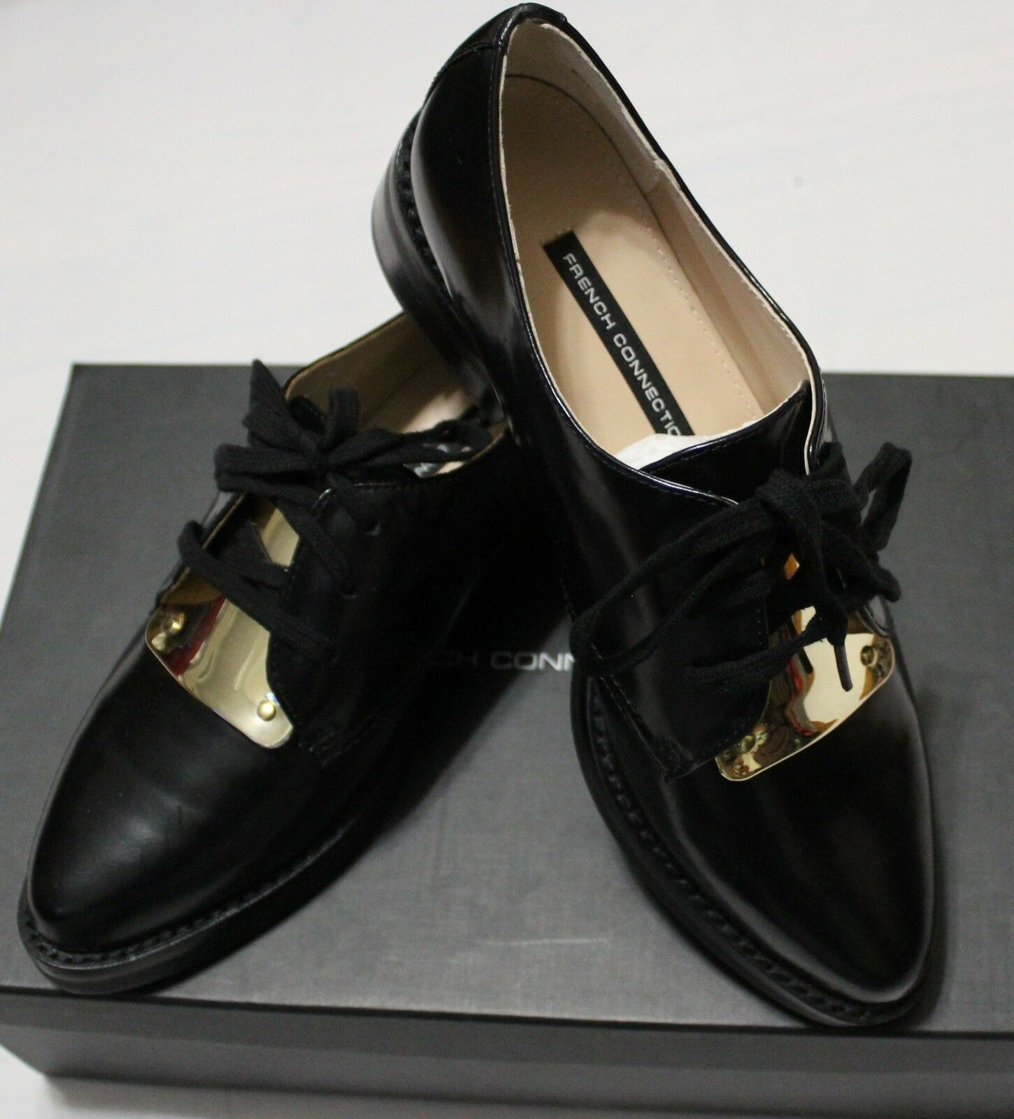 145 FRENCH CONNECTION MAEKO BLACK OXFORD SHOES US 7 EU37