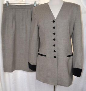 OLEG-CASSINI-Vintage-Womens-Suit-Gray-Wool-3-4-Walking-Jacket-Skirt-Lined-Sz-8