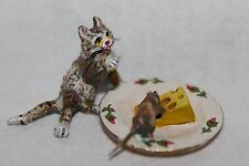 Original Wiener Bronze, Katze mit Käseteller / Maus