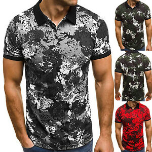 Men-039-s-Short-Sleeve-Polo-Tee-Shirts-Golf-Slim-Fit-Casual-Summer-Muscle-Camo-Tops