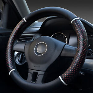PU-Leather-Car-Steering-Wheel-Cover-Red-Ice-Silk-Hollow-out-design-Car-Universal