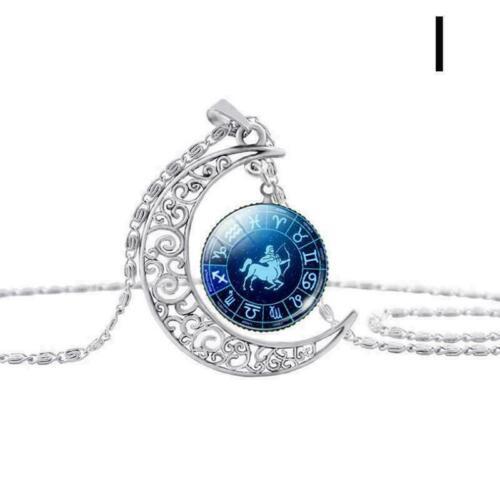 12 Sternbilder Anhänger Silber Mond Astrologie Sternzeichen Halskette Nett C1S9