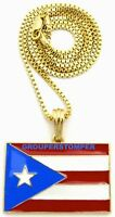 Puerto Rico Flag Small Pendant Necklace With 24 Inch Box Link Chain