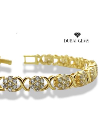 Details about  /Yellow gold finish Created  Diamond Flower Designer bracelet gift boxed
