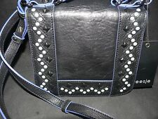 Treesje Women's Hymn Cross-Body purse handbag bag Black blue Beaded Leather