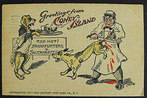 Antique postcard greetings from coney islandred hot franfurters image is loading antique postcard greetings from coney island red hot m4hsunfo