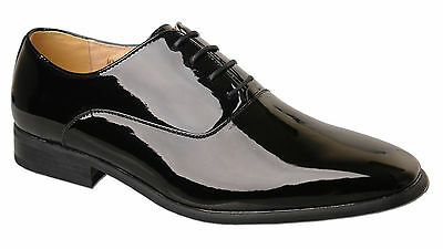 Mens Shiny Black Leather Lined Patent Wedding Shoes Size6 7 8 9 10 11 12 13 14