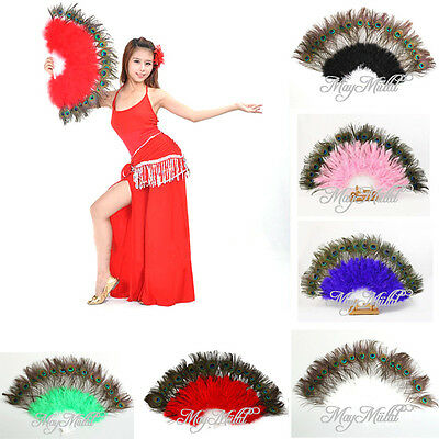 Beauty Large Belly Dance Costume Peacock Feather Folding Hand Fan 6 Color