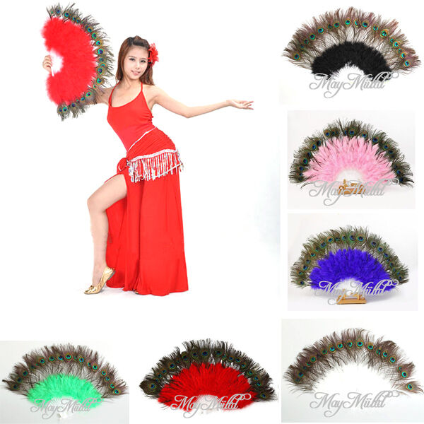 Beauty Large Belly Dance Costume Peacock Feather Folding Hand Fan 6 Color W