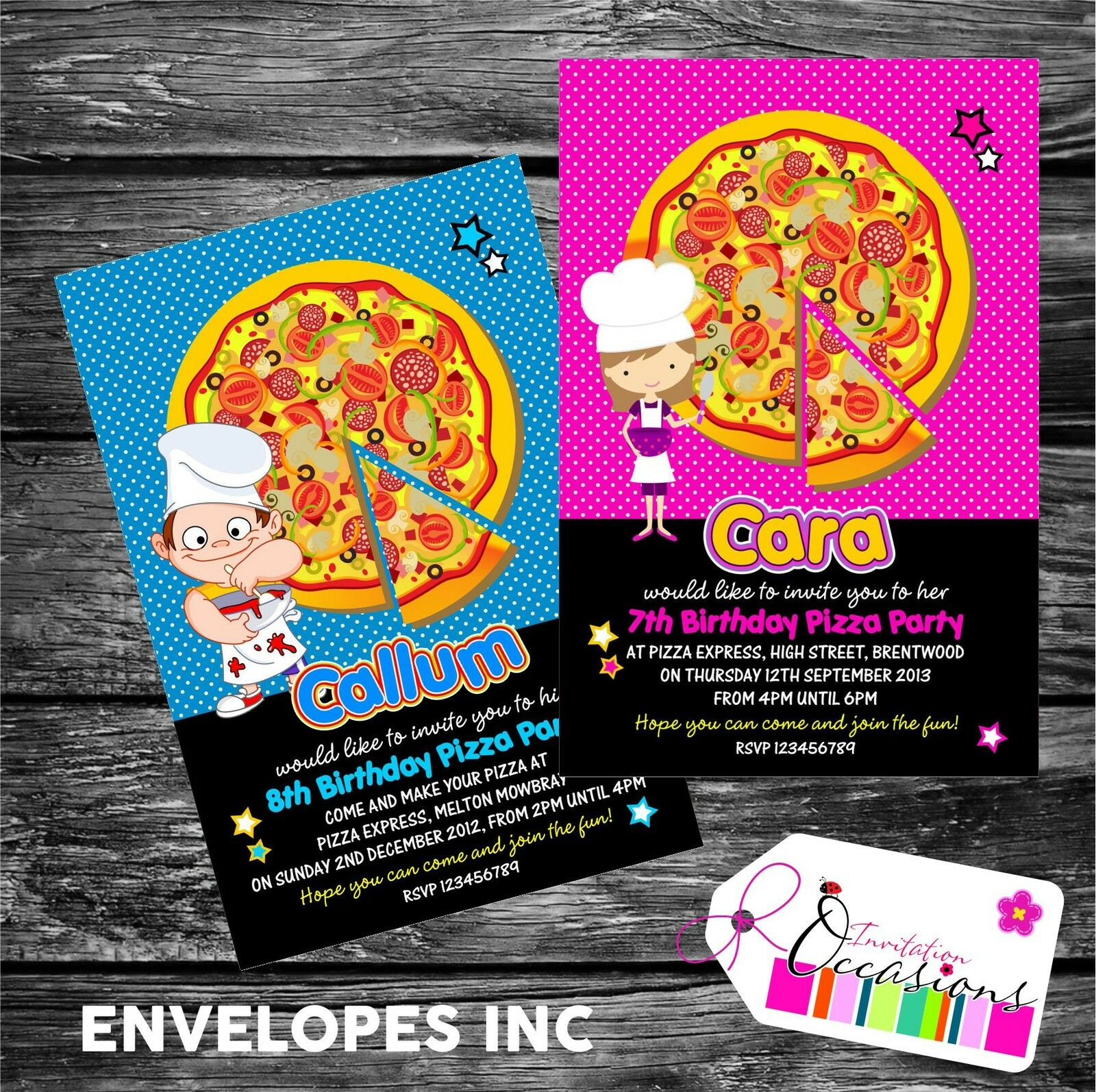 Personalised Birthday Invitations Pizza Making Party X 5 For Sale