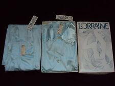 VINTAGE LORRAINE AQUA BLUE LACY SOFT SILKY NYLON NIGHTGOWN & ROBE, NEW W/TAGS!