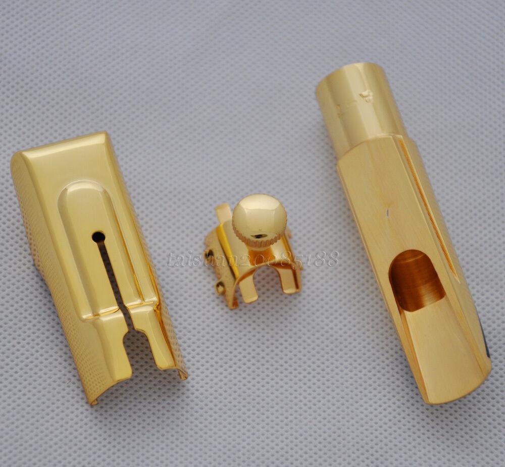 Boquilla saxo saxo saxo metal más reciente Boquilla Para Saxofón Alto Eb Placa De oro Talla 7 53d5d8