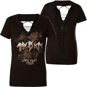Ac Pasadena Schwarz shirt T Affliction Damen xwqB6Cnxt