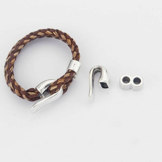 5 Sets Half Cuff Jewelry Bracelet Findings Hook Clasp For 5mm Round Leather Cord