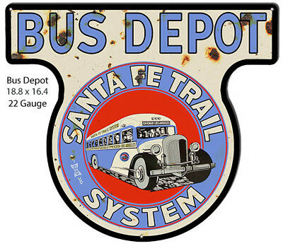 Bus Depot Santa Fe Reproduction Cut Out Nostalgic Sign 15.6x17