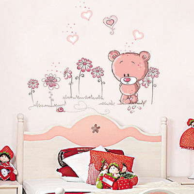 Pink Bear Wall Sticker Removable Nursery Girl Baby Children Bedroom Art Decal