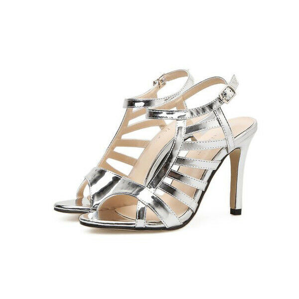Sandale stiletto eleganti tacco   12 cm  silver simil pelle eleganti 9975