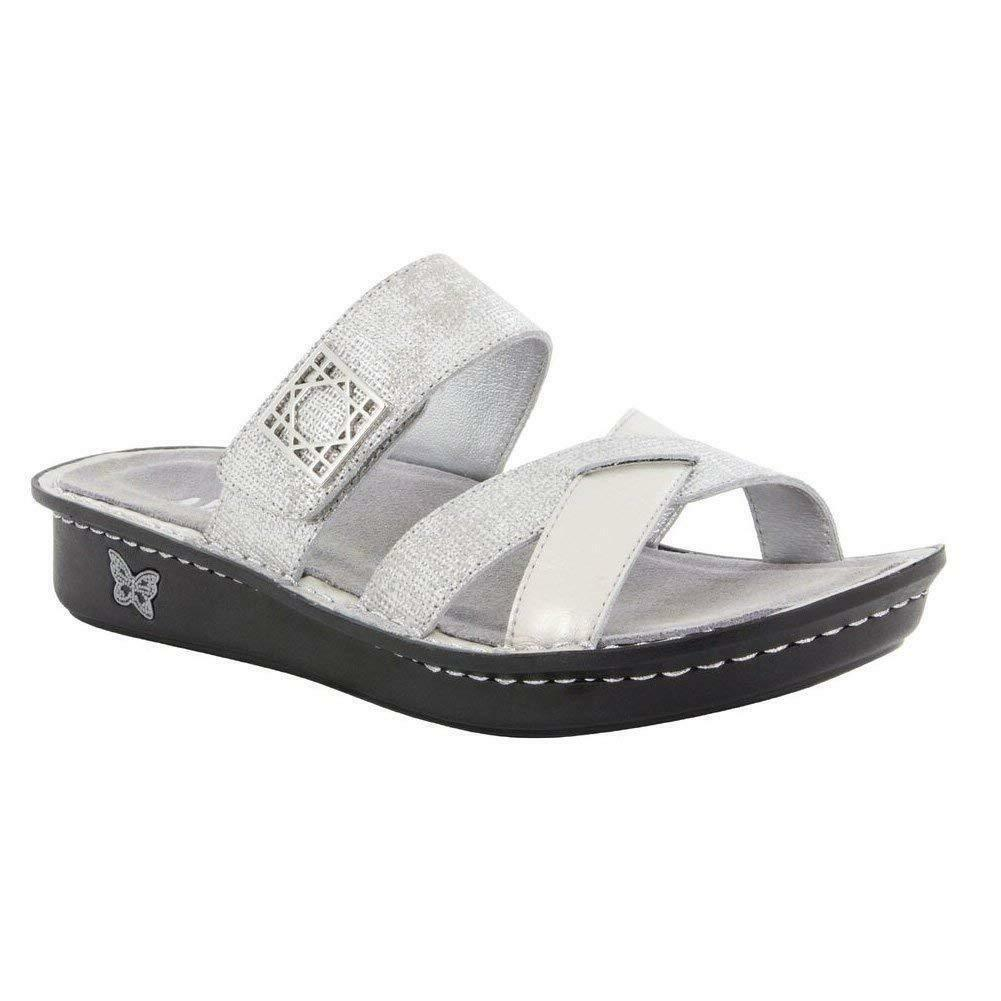 NEW ALEGRIA Victoriah Slides Women's 38 8-8.5 M Silver Leather shoes  100